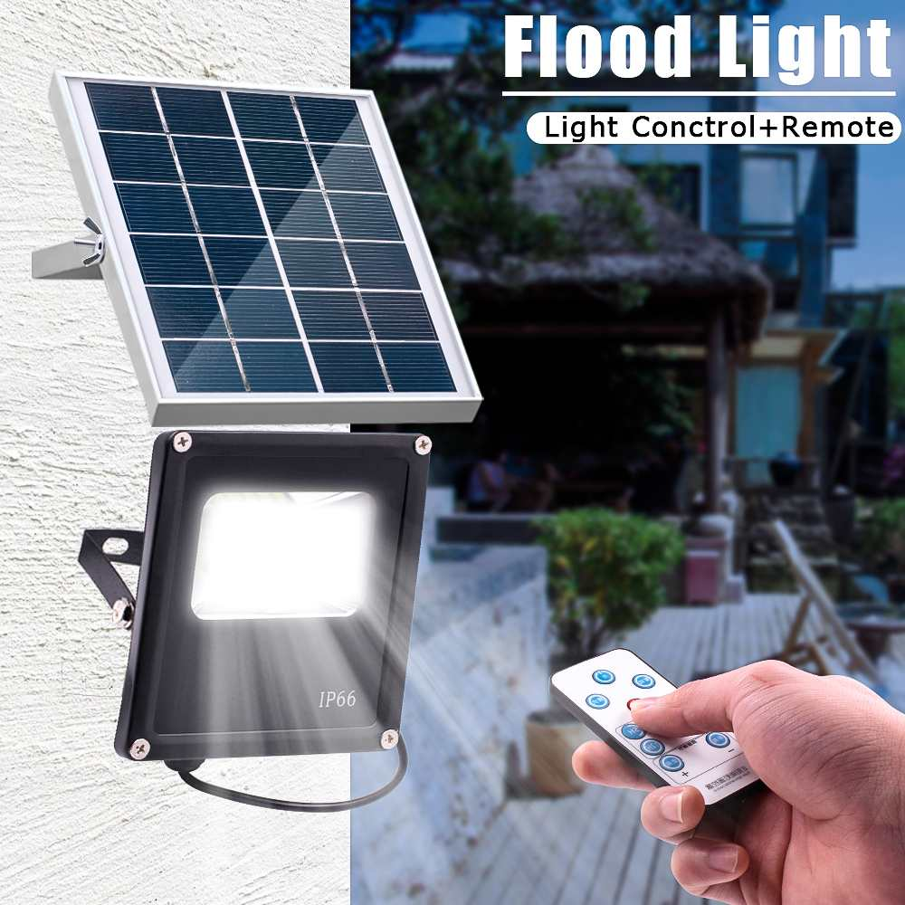 New Waterproof Solar Floodlights 20W Remote Control + Timer + Lighting Control Outdoor Lighting LED Spotlight Garden Lamp