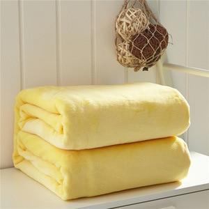 Image 3 - Очень мягкое одеяло из кораллового флиса, однотонное, желтое, Двухслойное, двухъярусное, размер, плед, покрывало, Cobertor
