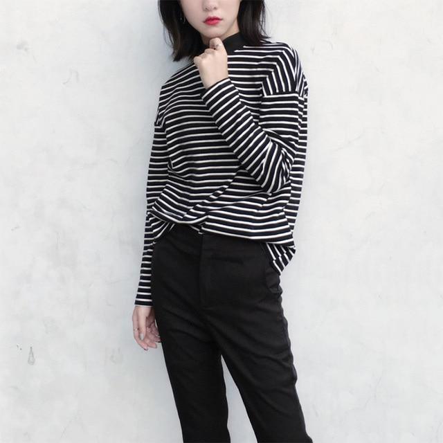 Women Turtleneck Korean Style T Shirt Harajuku Crop Top Long Sleeved