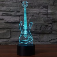 3D Guitar Table Lamp USB Visual Acrylic Touch Musical Instruments Night Light LED 7 Color Changing