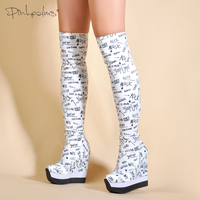 Spring Autumn Shoes Women Over The Knee Boots Sexy High Heels Wedge Boots Stretch Fabric Sock Boots Student Girl and women Boots