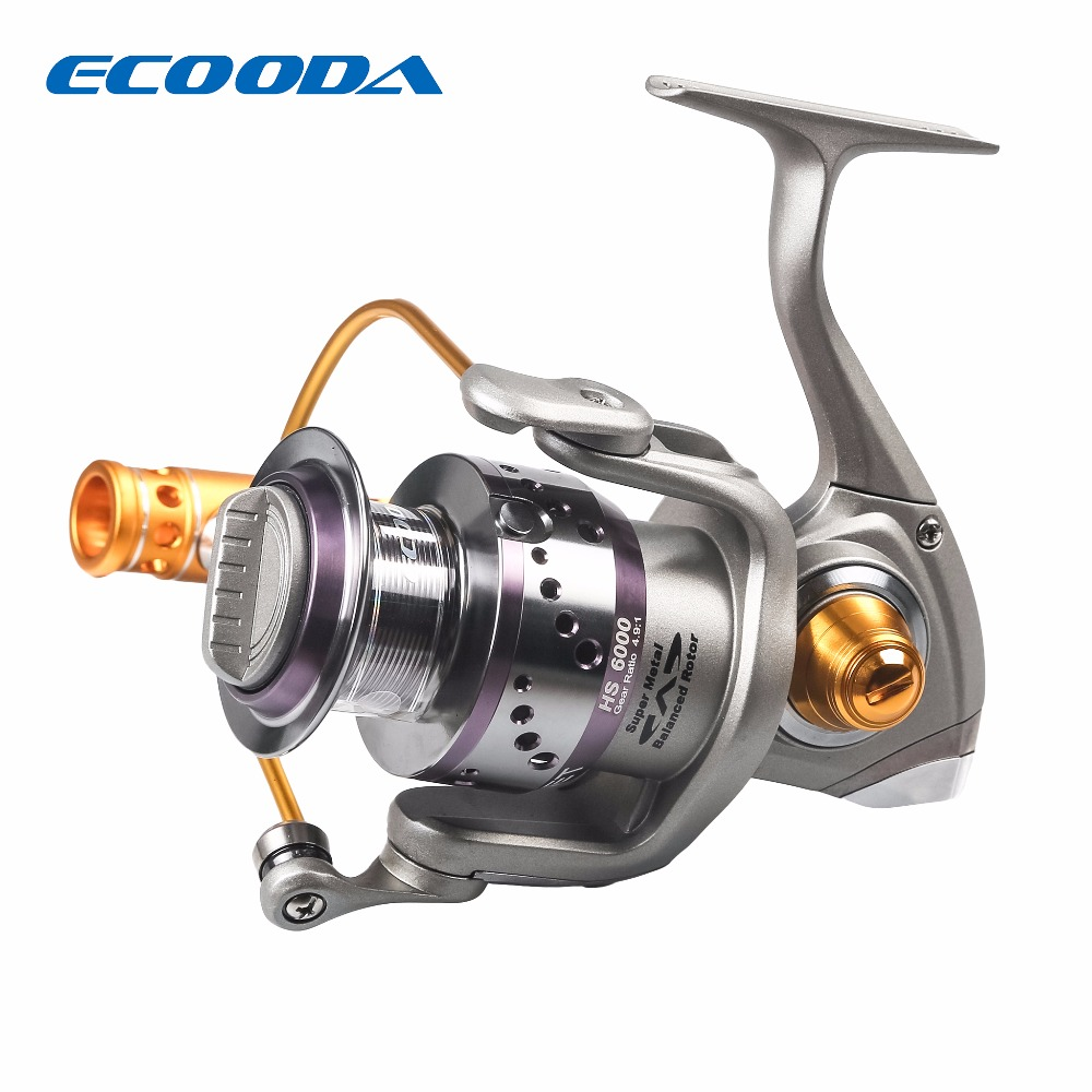 Ecooda 4.9:1 Spinning Reel Outdoor Fishing Weel  7+1BB Ball Bearings Max Drag 20kg 6000 Series For Saltwater Freshwater Fishing piscifun 2017 venom water resistant spinning reel max drag 12kg carbon drag 10 1 ball bearings sea boat spinning fishing reel