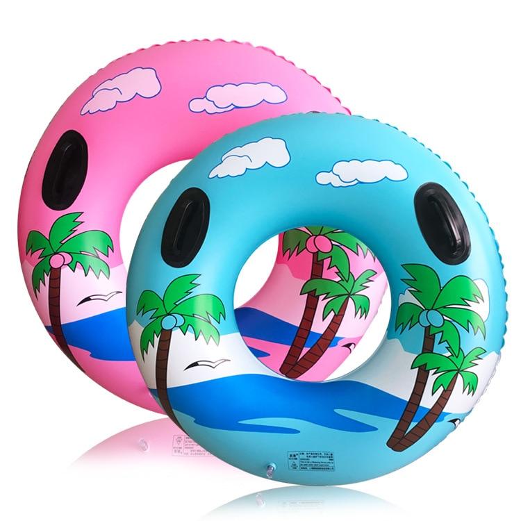 New Cartoon Coconut Tree Swimming Circle Adult Handrail Swimming Circle Coconut Tree Handle Thickened Swimming Inflation Circle