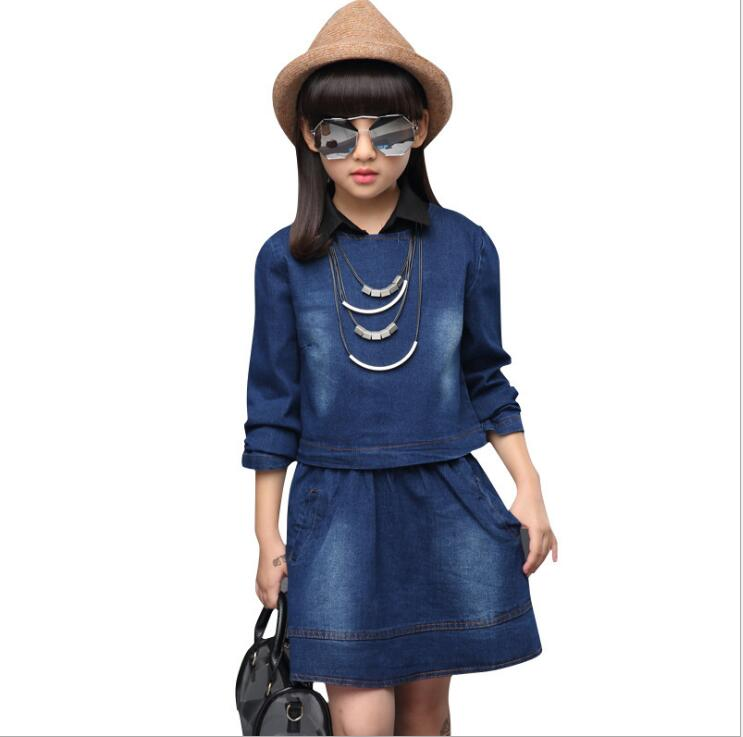2017 Spring and Autumn new children's clothing girls fashion casual denim skirt two-piece suit big virgin child Foreign Direct