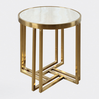 Stainless steel round marble side table modern minimalist small coffee table metal custom sofa side table