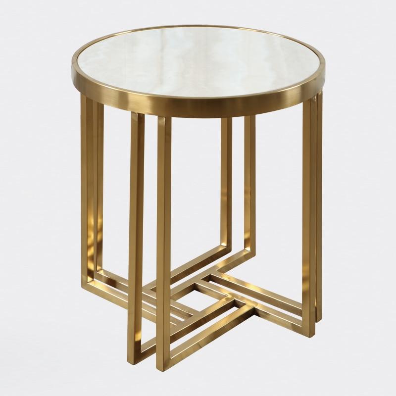 Stainless steel round marble side table modern minimalist small coffee metal custom sofa