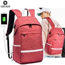 OZUKO Vintage Canvas Backpack Men's USB Charging Laptop Backpack Fashion School Bag For Teenagers Waterproof Travel Male Mochila