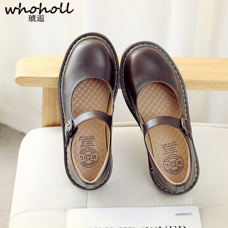 WHOHOLL Women Flat Shoes Casual British Genuine Leather Black Brown Round Toe Buckle Strap Preppy Uniform Shoes Cos Maid ShoesWHOHOLL Women Flat Shoes Casual British Genuine Leather Black Brown Round Toe Buckle Strap Preppy Uniform Shoes Cos Maid Shoes