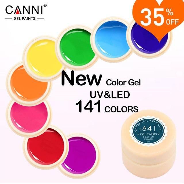 CANNI Gel Lacquer 5 ml 141 Colori Puri UV Gel Manicure FAI DA TE francese Del Chiodo Punte di Arte Del Gel Polacco Chiodo di Disegno Pittura del Gel di Colore vernice