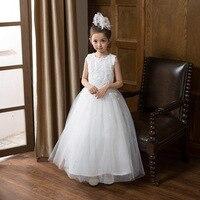 Flor Meninas Vestidos de Casamento Sash Tornozelo Comprimento de Renda Branca Bonita Do Laço de Vestido de Festa Da Princesa Vestidos de Baile de Casamento para 2 Anos de Idade-9