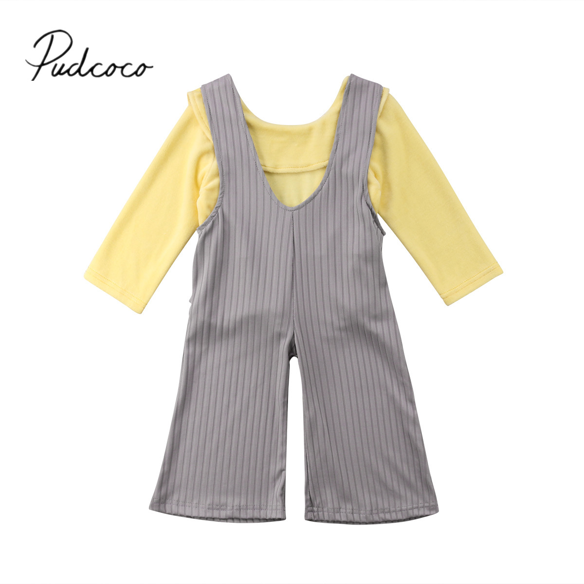 2018 Brand New 2-7Y Toddler Baby Girls Summer Fashion Clothes Sets 2PCS Long Sleeve Yellow T-Shirts Tops Loos Wide Leg Overalls