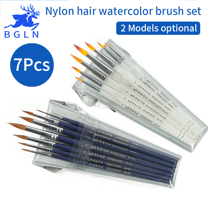 Bgln 7Pcs/set Professional Nylon Hair Watercolor Brush Set Watercolor Gouache Painting Brushes Pen Stationery Art Supplies bgln 7pcs set mix hair nylon weasel hair professional watercolor paint brush watercolor painting brush stationery art supplies