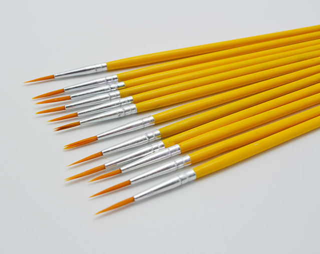 Ultra Slim Nylon Painting Brushes 10 pcs Set