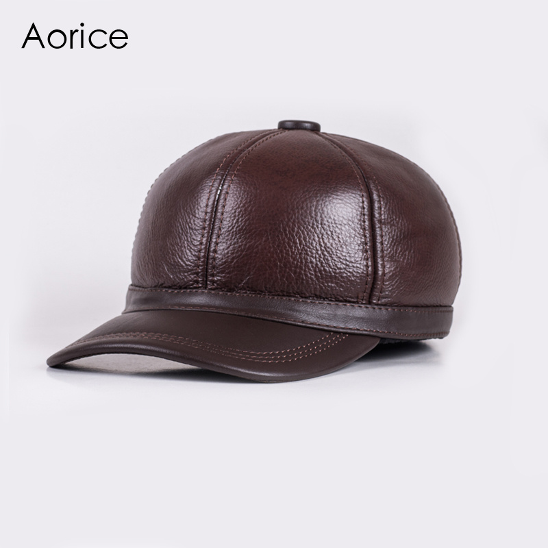 Aorice Autumn Winter Genuine Leather Men Cap Hat Brand New Baseball Cap  Fashion Men s Real Leather Hats Caps With 3 Colors HL097-in Baseball Caps  from ... f96c1238c773