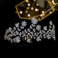 Zirconium water drill bit crystal flower fashion royal wedding headband bridal jewelry crown accessories female jewelry gift