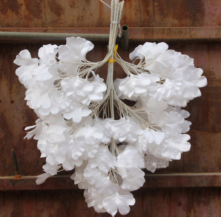 12pcs 60cm White Ginkgo Biloba Maidenhair Tree Leaf Leaves