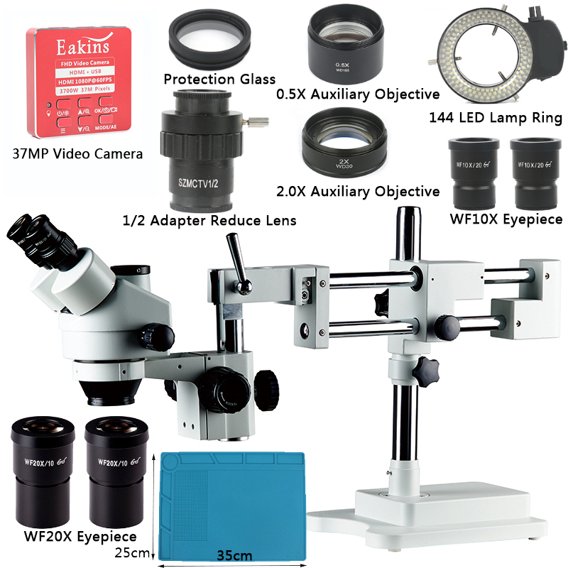 3 5X 90X Simul Focal Trinocular Stereo Microscope Double Boom Stand 37MP 1080P HDMI USB Video