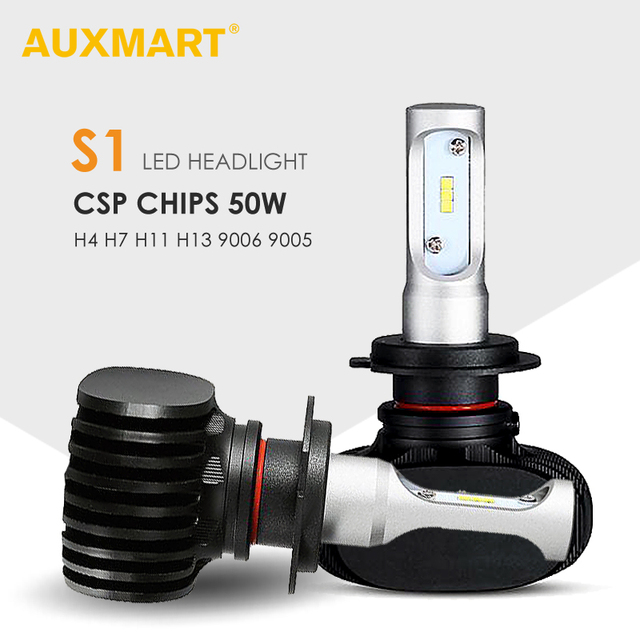 Auxmart S1 Series H4 H13 Hi-Lo Beam Car LED Headlight Front Bulb 6500K 8000LM Led H7 H11 9005 9006 Car Headlamps 12v 24v 50W