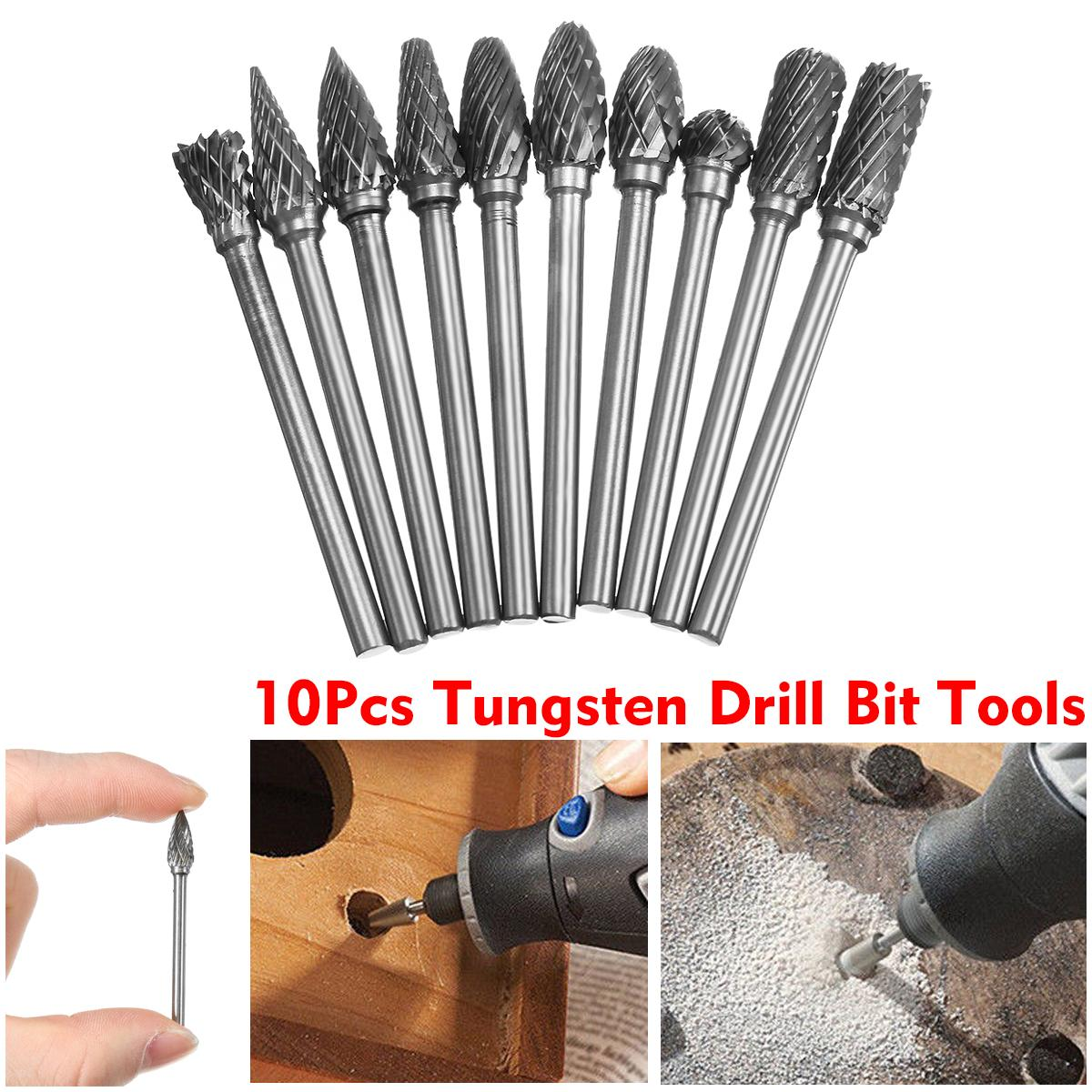 10 Pcs Tungsten Carbide Steel Burr Rotary Drills Cutter File Set Shank Polishing