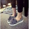 Оптовая продажа женская обувь квартиры женщинам-обувь плоские туфли на каблуках ленивый обувь из мягкой кожи кроличьи уши ткань плоские туфли