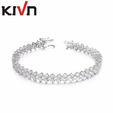 KIVN Fashion Jewelry Sparking CZ Cubic Zirconia Bridal Wedding Bangle bracelets for Women Mothers Day Birthday Christmas Gifts