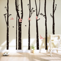 Creative Big Tree With Birds Wall Stickers For Office Living Room Bedroom Home Decoration Diy Plant Mural Art Vinyl Wall Decals