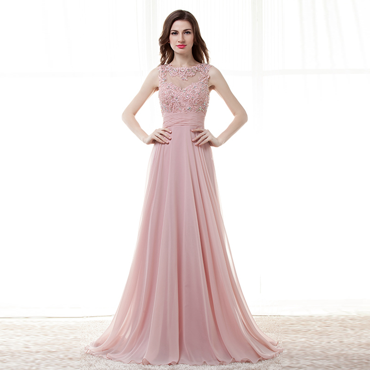 Modest Pale Pink Evening Dresses Long Formal Evening Gowns ...