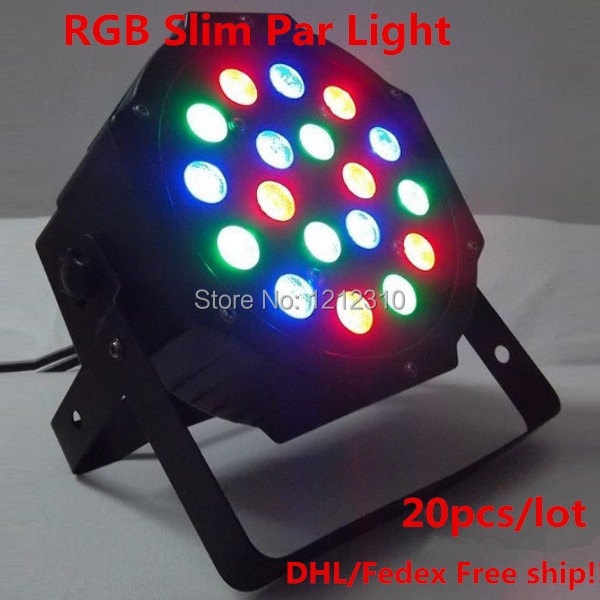 18*3W DMX 512 Stage Lights Business Lights Led Flat Par High Power Light with Professional for Party KTV Disco DJ EU/US plug