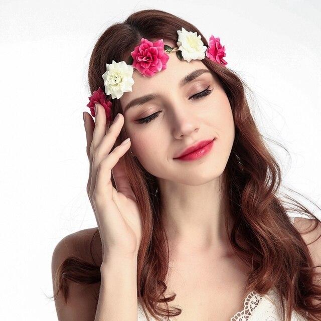 Women Bride Flower Headband Bohemian Style Rose Flower Crown