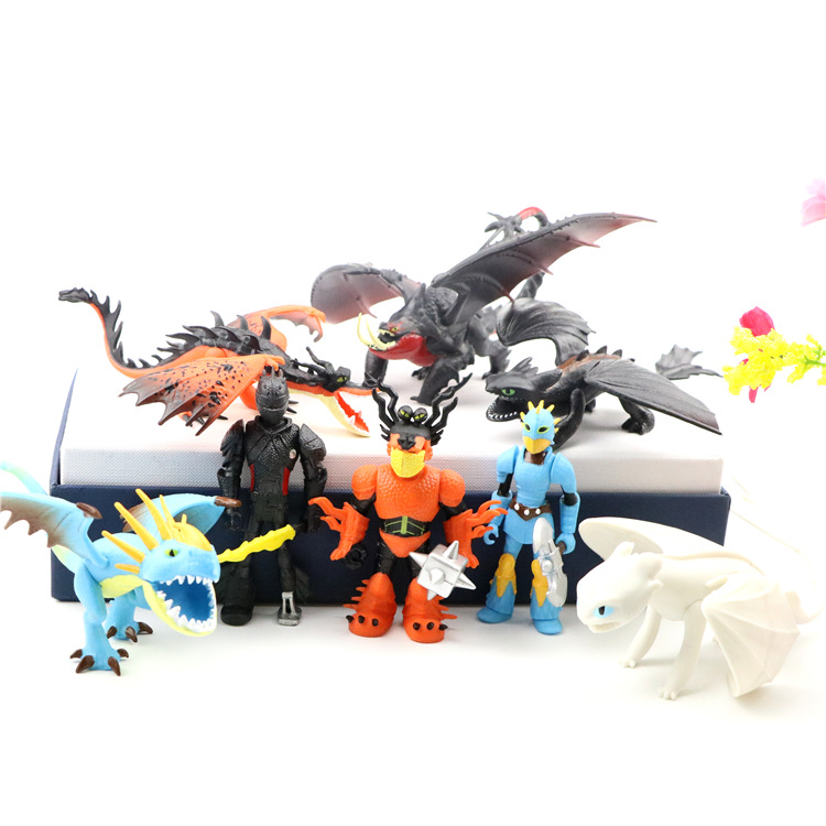 8pcs/set How to Train Your Dragon 3 Toothless Light Fury Model Action Figure Toy Anime Figure Collection For Kids Children Gift