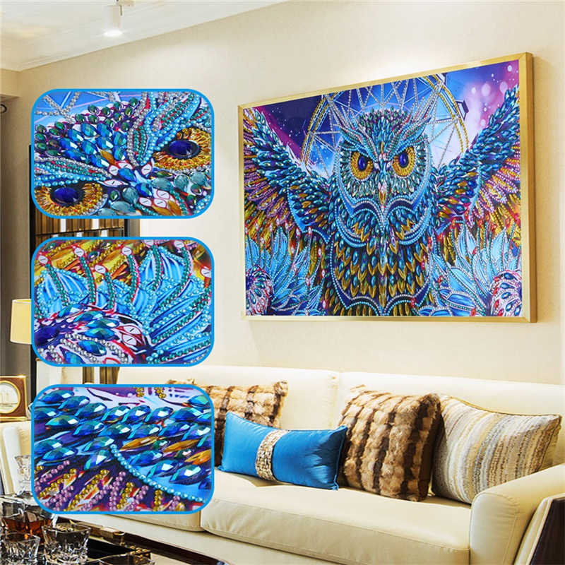 Home Decor Special Shaped Diamond Painting Owl DIY 5D Partial Drill Cross Stitch Kits Crystal Rhinestone Dropship March15
