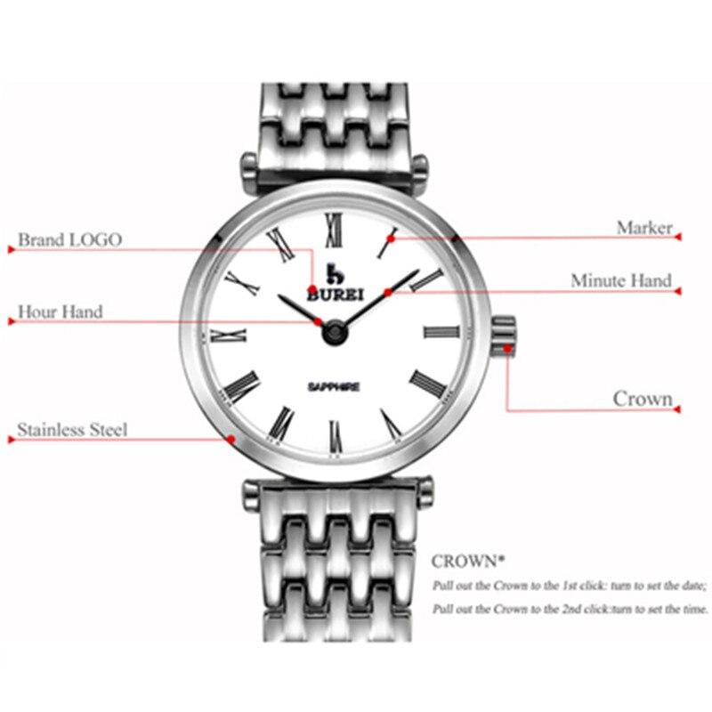 BUREI 2017, женские часы, Топ бренд, роскошные женские кварцевые наручные часы, женские модные водонепроницаемые часы, женские часы, Relogio Feminino - 5