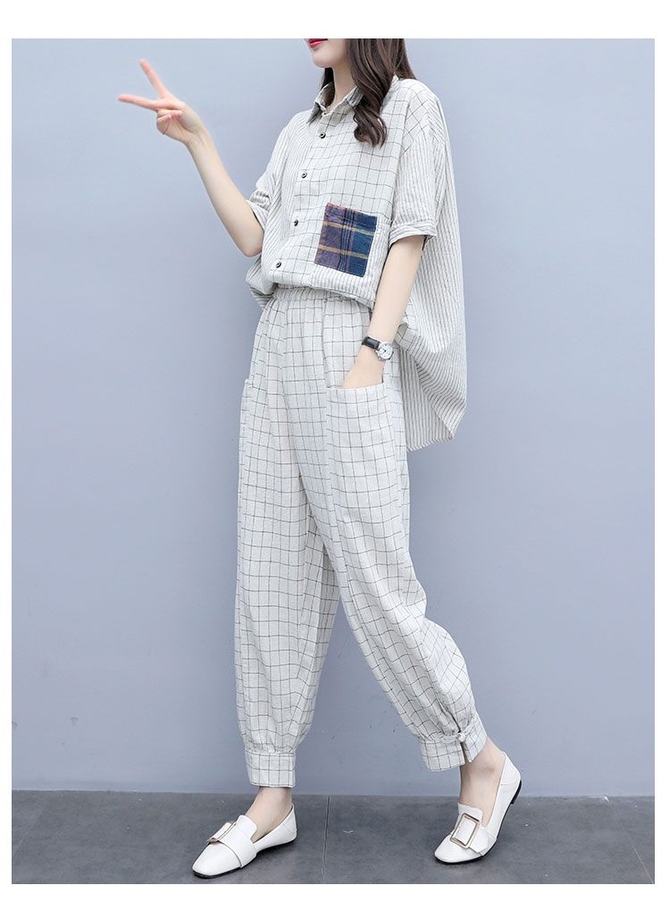 Summer Plaid Two Piece Sets Outfits Women Plus Size Short Sleeve Shirts And Pants Suits Casual Fashion Loose 2 Piece Sets Mujer 34