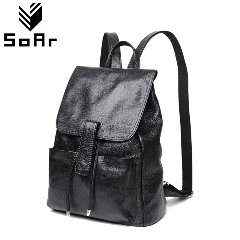 цены SoAr Genuine Leather Women Backpack Luxury Brands Female Shoulder Bags New Fashion Women Cute Girl Mujer Tote Hot Sale Backpacks