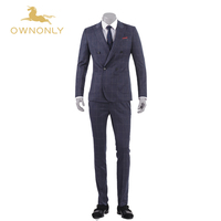Ownonlyブランドスーツ男性2017ウールダブルブレスト男のビジネス結婚式のスーツ3ピース(ジャケット+パンツ+ベスト)