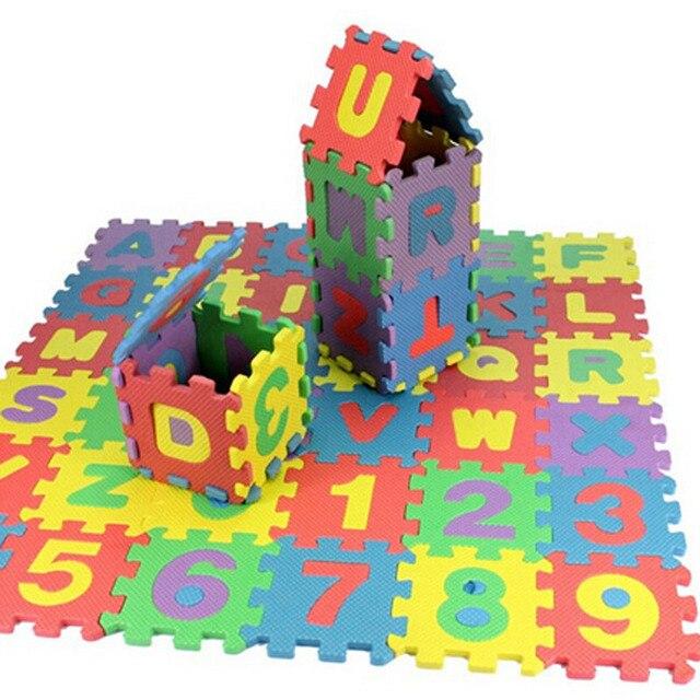 36 개/대 아기 게임 매트 알파벳 숫자 아기 어린이 놀이 매트 어린이 부드러운 바닥 크롤링 러그 미니에 바 거품 매트
