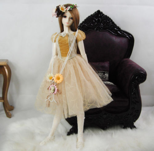 Accept custom  New Sweet Golden Lace Princess Dress/Skirt/Outfit  1/3 1/4 Big girl SD MSD BJD Doll Clothes pink lovely rabbit suit aminal outfit for bjd 1 3 dd dy girl doll clothes cw65