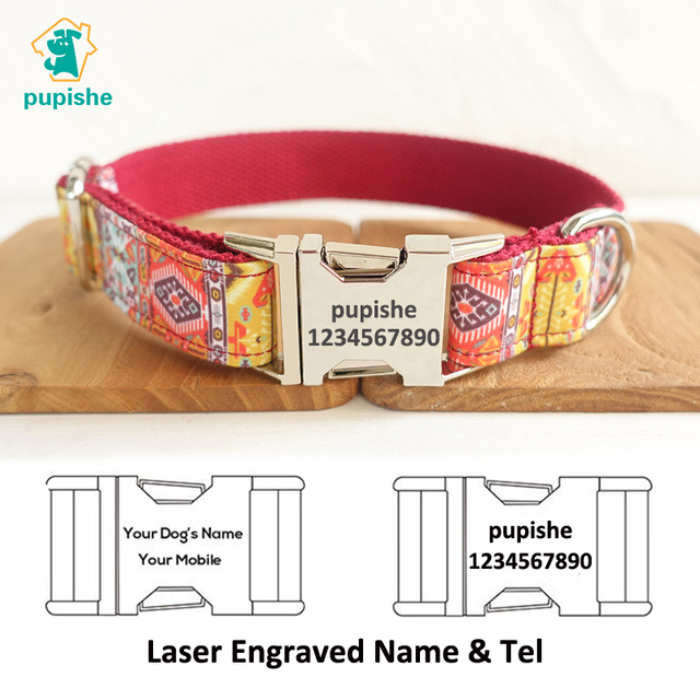 US $7 7 |PUPISHE Pet Collars Handmade Timeproof Engraved Pet Name Dog  Collar Creative Ethnic Style Dog Collar Exquisite Pet Gift for Dogs-in  Collars