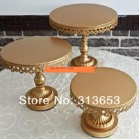 new arrival luxury antique gold metal cake plate stand/ wedding dessert plate/cupcake stand/ wedding decorations cake tray