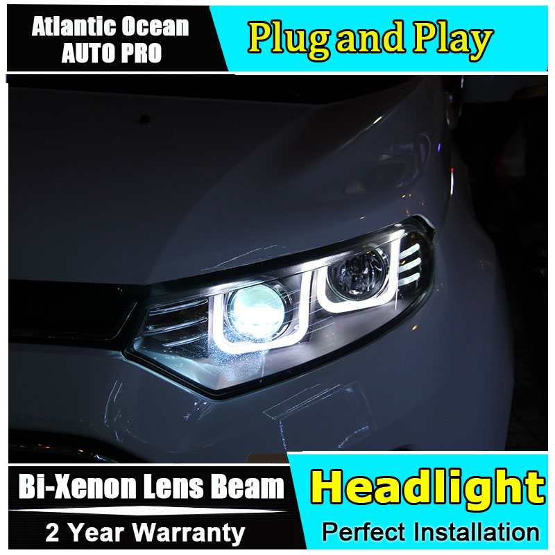 car styling For Ford EcoSport headlights U angel eyes 2013 2017 For Ford EcoSport Bi xenon