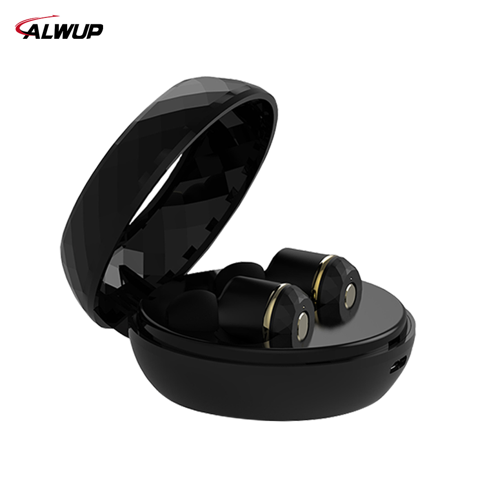 ALWUP Earphone Wireless Bluetooth Headphone In the ear Stereo headset for Phone sports earbuds with microphone charging case nameblue st 33 sports bluetooth v4 0 in ear earphone headphone set w microphone volume control