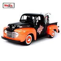 Maisto 1:24 Ford 1948 FORD F 1 PICKUP 1958 Harley FLH DUO GLIDE Motorcycle Bike Diecast Model Car Toy New In Box Free Shipping
