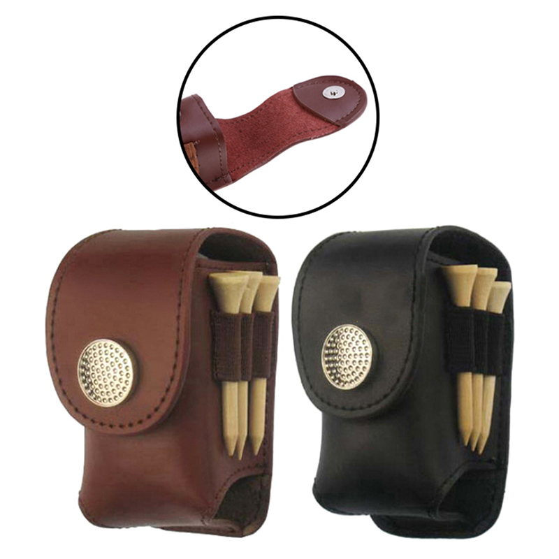 Leather Mini Golf Ball Pouch Tee Holder Waist Pack Free Shipping