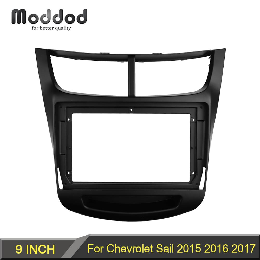 Double Din 9 Inch Car Radio Fascia For Chevrolet Sail 2015 2016 2017 Dashboard Installation Trim Kit Frame Bezel Stereo Panel
