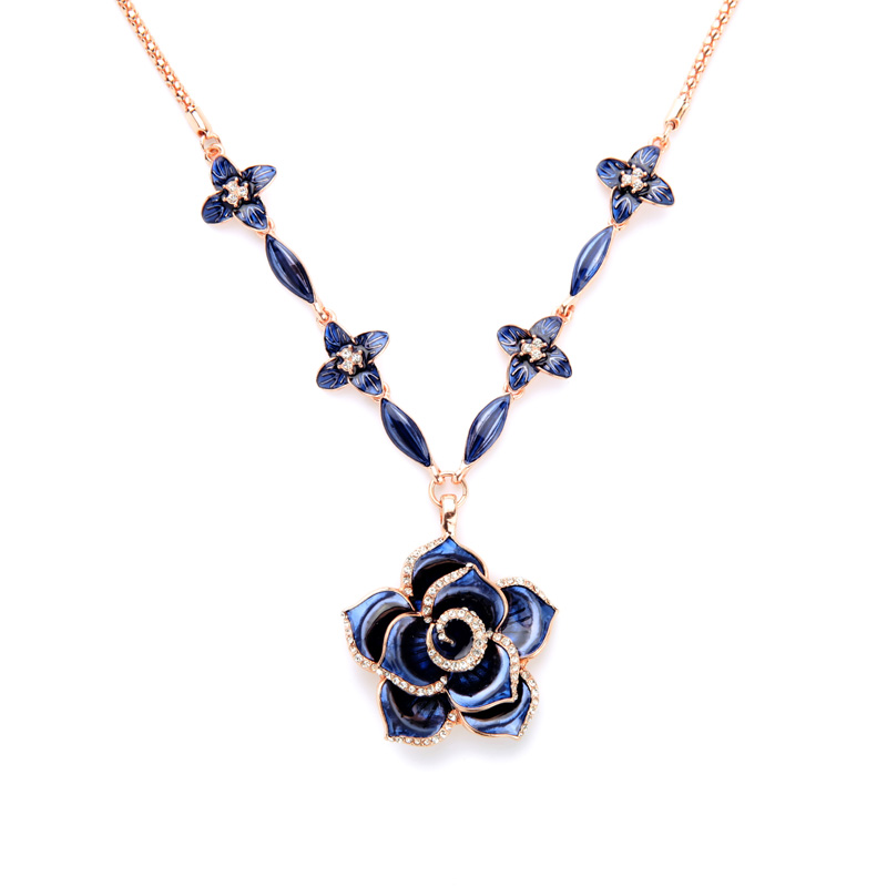 Wholesale Blue Rose Pendant Necklace Perfumes