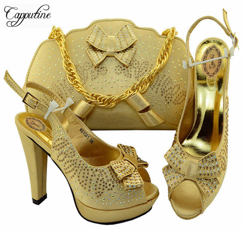 Capputine Fashion African Gold Color Shoes And Bag Set Italian Design Woman High Heels Shoes And Bag Set For Wedding MM10613 capputine italian fashion design woman shoes and bag set european rhinestone high heels shoes and bag set for wedding dress g40