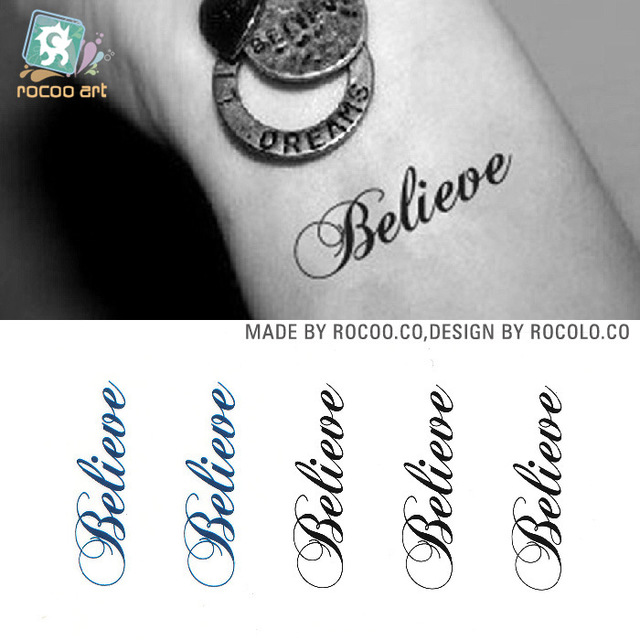 HC1136 Sexy Tattoo Stickers Body Art Harajuku Fake Tattoo Waterproof Temporary Tattoo Stickers Men Women Letter Believe Design