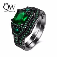 Queenwish Women Engagement Rings Green Cubic Zirconia Inlay Matching Wedding Bands Fashion Jewelry Size 6 8