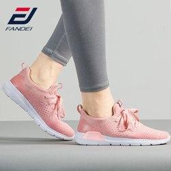 FANDEI 2018 نساء احذية الجري أحذية رياضية للمرأة تنفس شبكة أحذية رياضية مريحة خفيفة الوزن المشي حذاء رياضة الدانتيل يصل