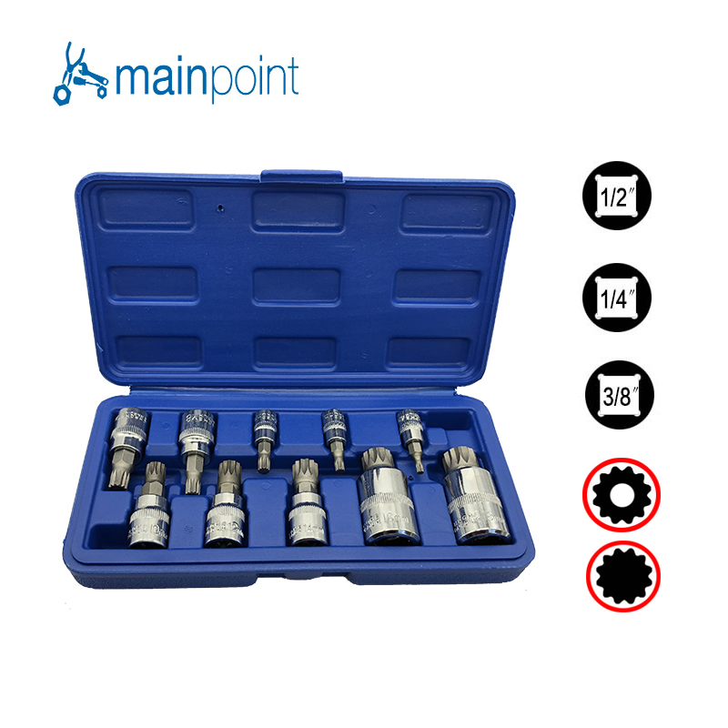 Mainpoint 10Pcs Bit Socket Spanner 3/8&1/4&1/2 Triple Square Spline Set For Tamper-Proof Lug Nuts Cylinder Head Bolt Wrench mainpoint high quality 18pc tamper proof torx star bit socket nuts set 1 4 1 2 drive t8 t60 for auto car repair and home use